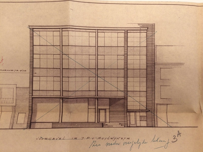 Afbeelding: Bouwtekening Van Muijlwijkstraat 23 dat later uiteindelijk een verdieping minder kreeg